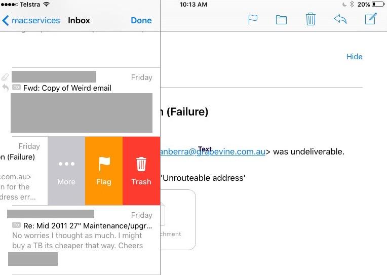 delete, unread icon in apple mail