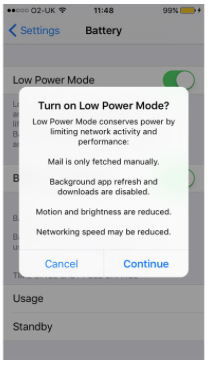 offer to turn on power save mode