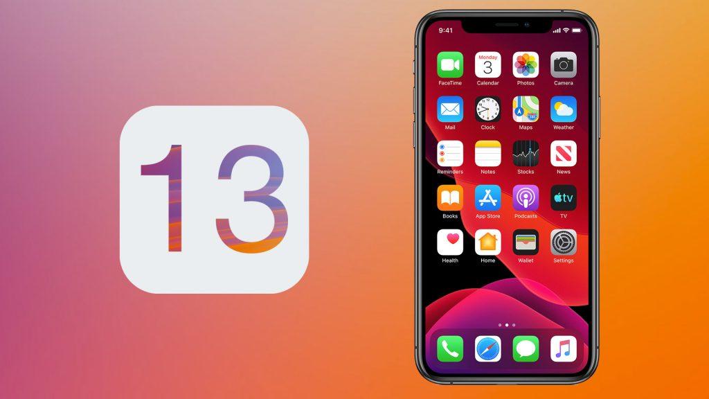 iPhone displaying ios13