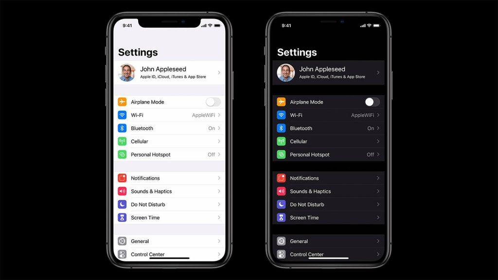 ios13 settings in dark and light mode