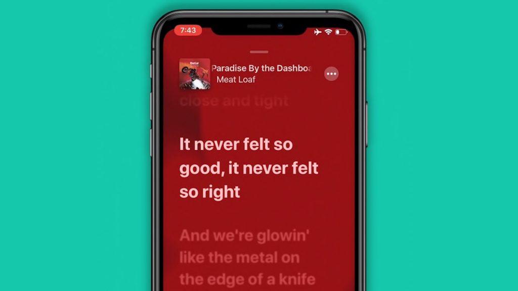 song lyrics in Apple music in ios13